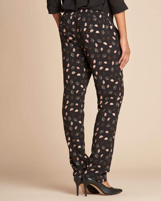 Ginko black foliage-print trousers (2) - 1-2-3