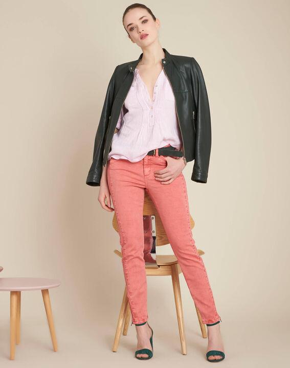 Korallenrote Slim-Fit-Jeans mit Reißverschlüssen an den Knöcheln Opera (2) - 1-2-3