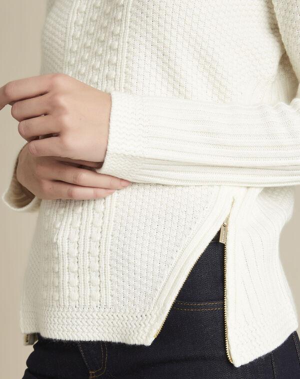 Witte trui met hoge kraag van gemengd wol Brindille (2) - 37653