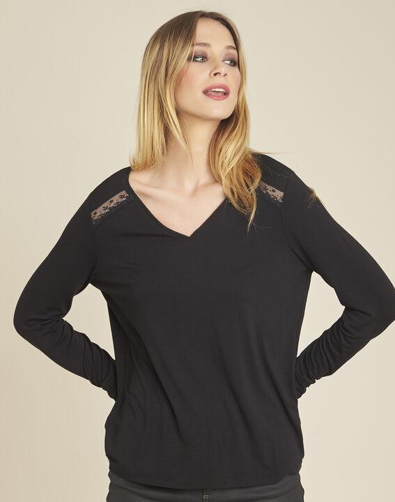 Zwart T-shirt met lange mouwen en kanten inzetstukken Girl PhotoZ | 1-2-3