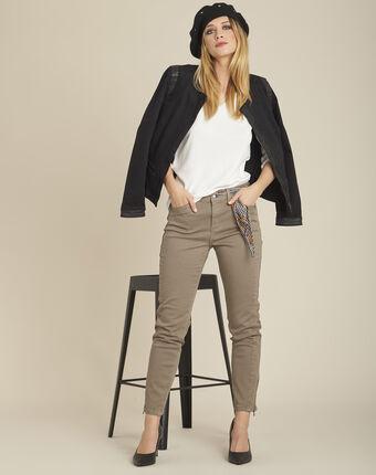 Opéra 7/8 length light green slim-cut jeans with zip detailing kaki.