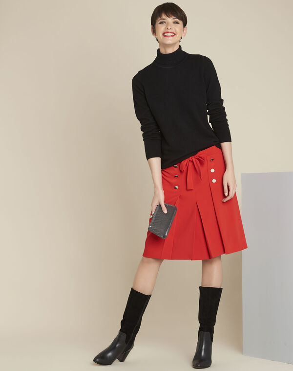 Alix red ruffle skirt with silver-look buttons (1) - 1-2-3