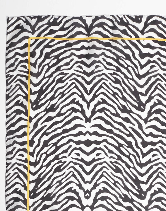 Schwarzes Seidenhalstuch mit Zebraprint Anouk PhotoZ | 1-2-3