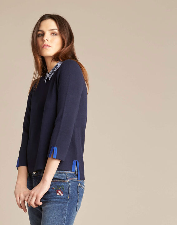 Noémie navy blue sweater with shirt collar (3) - 1-2-3