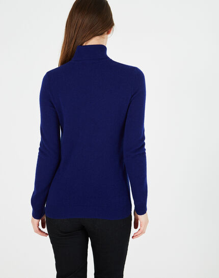 Perceneige ink blue polo-neck cashmere sweater (4) - 1-2-3