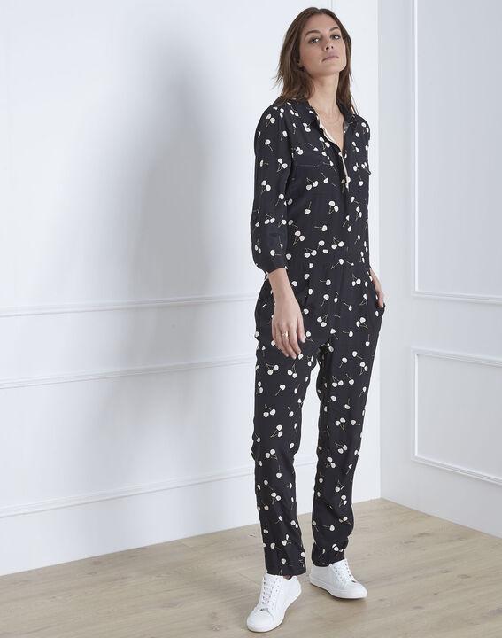 Schwarzer Jumpsuit mit Kirschen-Print Lisa (1) - Maison 123
