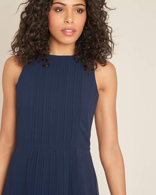 Marineblaues mittellanges Plissée-Kleid Isabella (2) - 1-2-3