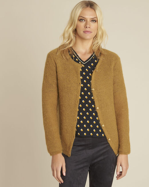 Bonbon yellow mohair mix cardigan (2) - 1-2-3
