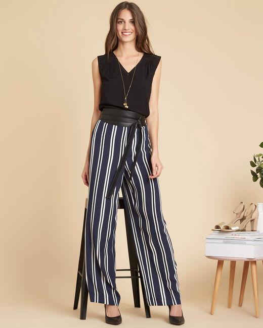 Pantalon large marine à rayures Sissi (1) - 1-2-3