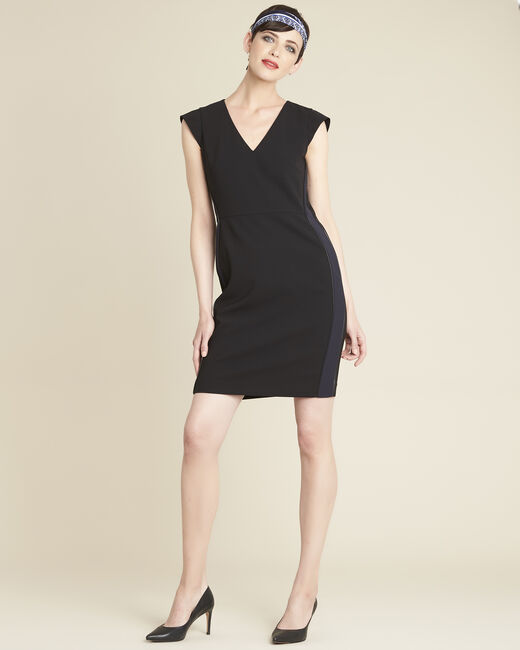 Daffo black straight-cut dress in microfibre (1) - 1-2-3