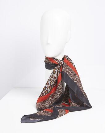 Carré de soie rouge imprimé léopard felin corail.