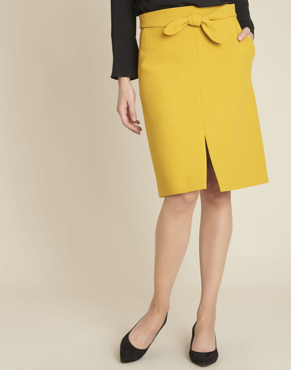 Agathe yellow skirt with knot and slit PhotoZ | 1-2-3