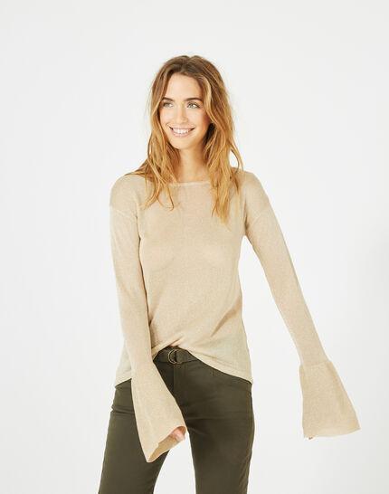 Goldener glänzender Pullover mit Trompetenärmeln Pagode PhotoZ | 1-2-3