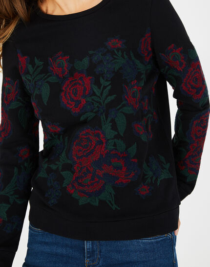 Sweat noir broderies roses Benny (3) - 1-2-3