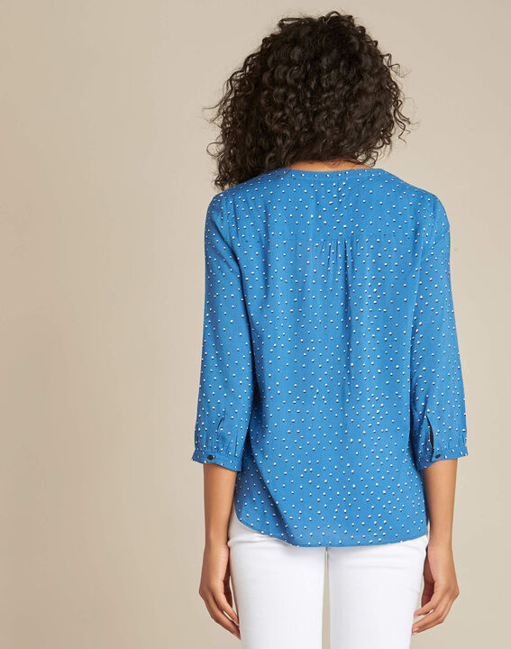 Ginger blue graphic print blouse. (4) - 1-2-3