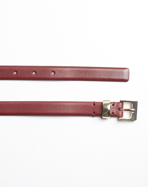 Quentin red leather belt with a gold tone buckle (2) - 1-2-3