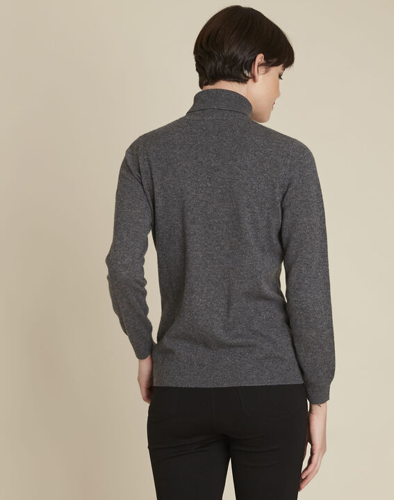Pull anthracite col roulé cachemire Berceuse (4) - 1-2-3