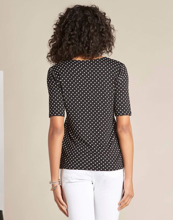 Eloge polka dot T-shirt in black with lace neckline (4) - 1-2-3