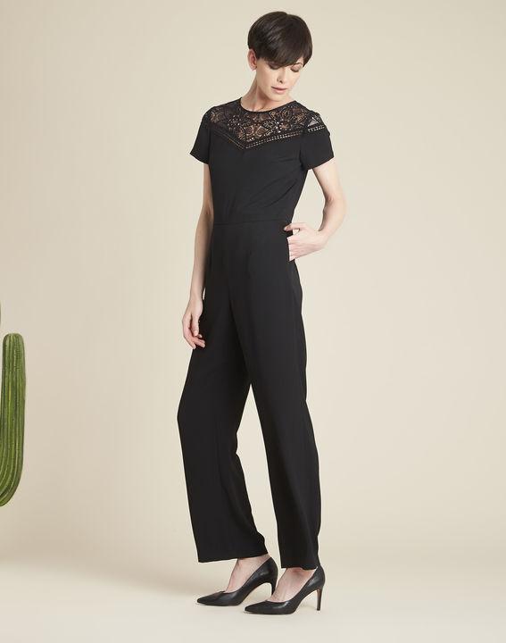 Daren black playsuit with lace neckline PhotoZ | 1-2-3