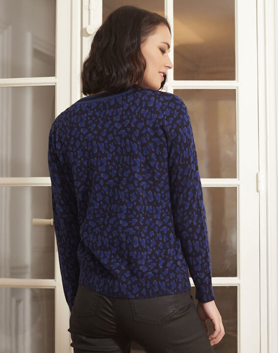 Marineblaue Strickjacke mit Animal-Print Baghera (4) - Maison 123