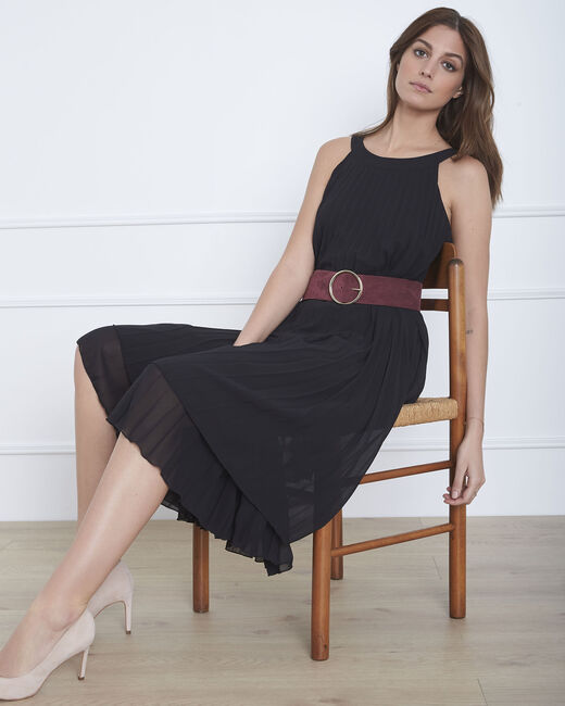 Nice long black pleated dress (2) - 1-2-3