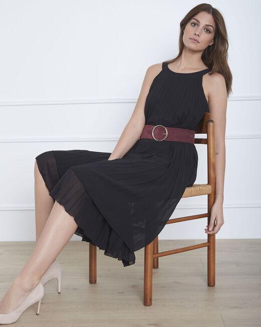 Robe noire plissée longue Nice (1) - 1-2-3