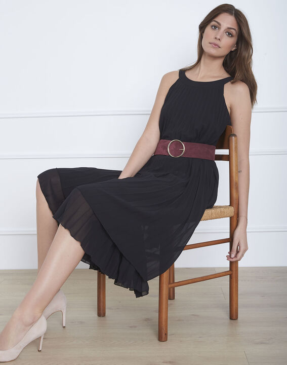Langes plissiertes schwarzes Kleid Nice (2) - 1-2-3