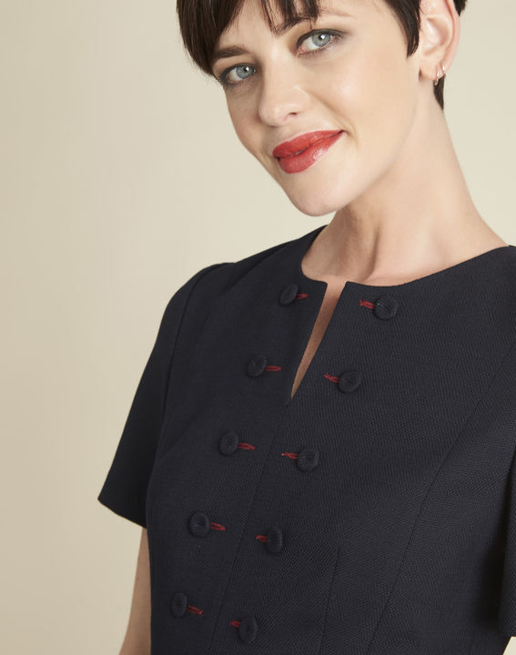 Delia short navy blue dress with button detailing (2) - 1-2-3