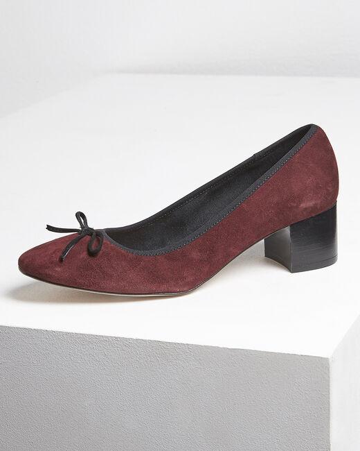 Kalista burgundy suede leather ballet flats with heel (1) - 1-2-3