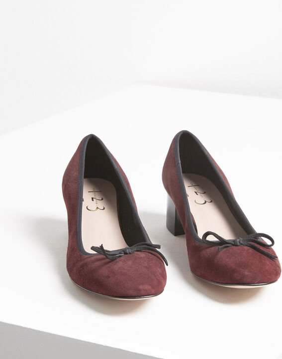 Kalista burgundy suede leather ballet flats with heel (1) - Maison 123