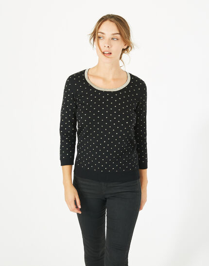Prisme black sweater with golden polka dot detailing and a rounded neckline (4) - 1-2-3