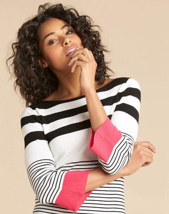 Pull grosses rayures rose pins noir/blanc.