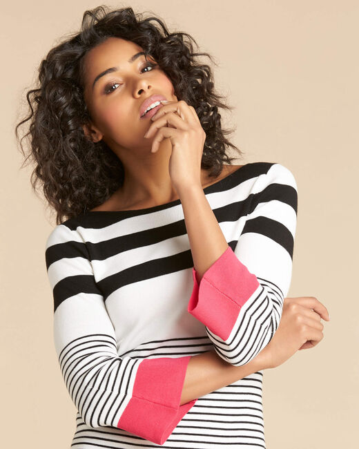 Pins pink wide-striped sweater (2) - 1-2-3