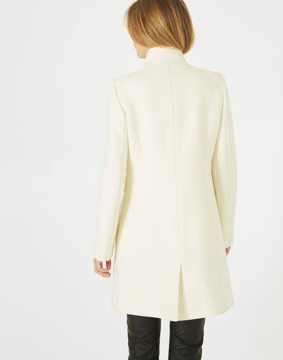 Manteau écru en laine mélangée col montant Jasmin (4) - 1-2-3