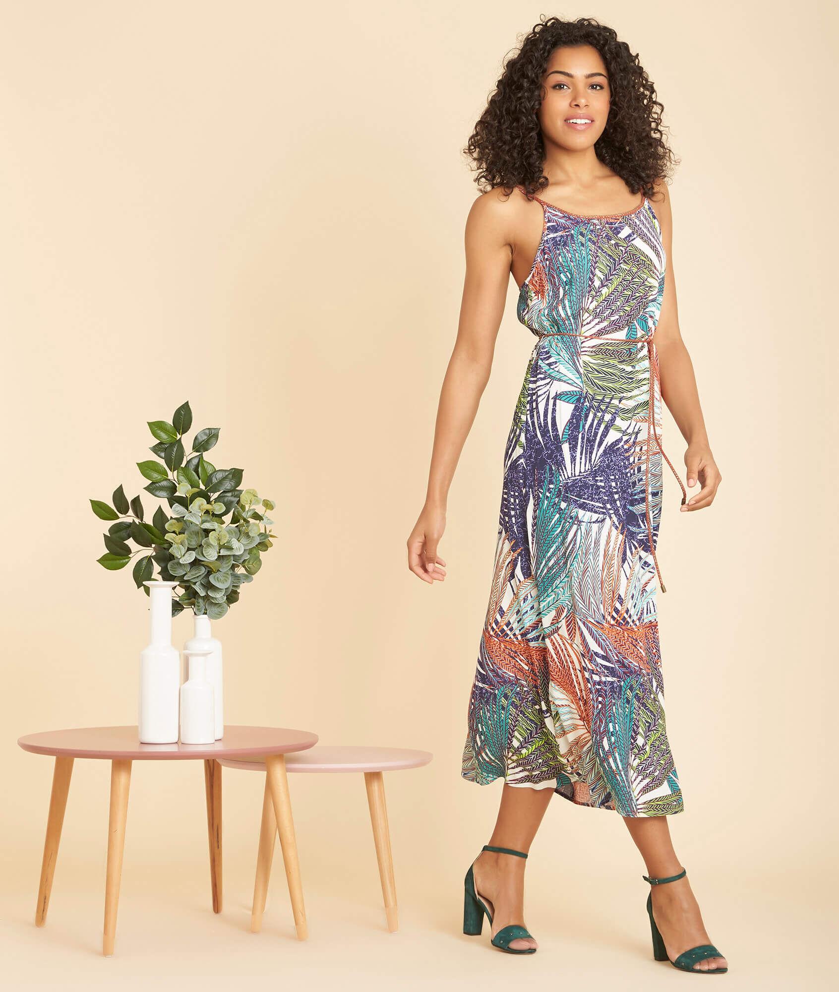 Papaye long printed multi-coloured dress (2) - 1-2-3 ...