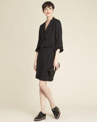 Robe noire imprimée col lavallière dorothy noir.