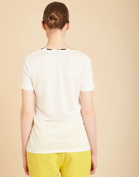 Elin ecru linen T-shirt with decorative neckline (4) - 1-2-3
