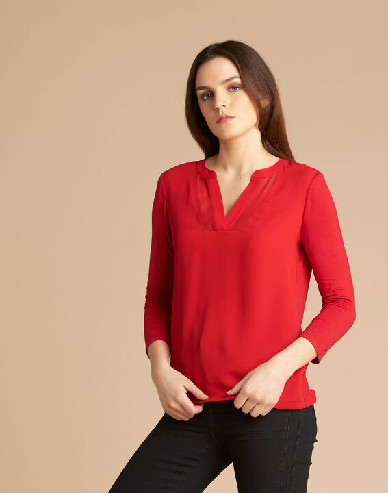 Tee-shirt rouge col tunisien manches 3/4 Bianca (3) - 1-2-3