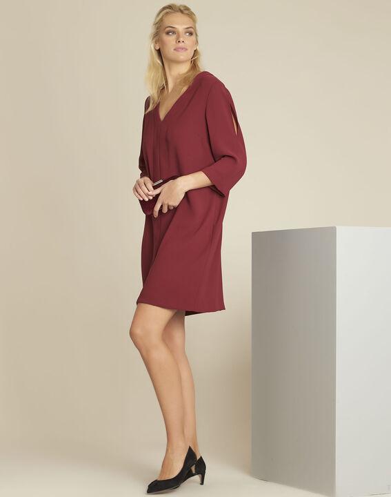 Robijnrode jurk met zakken van crêpe Devy (3) - 37653
