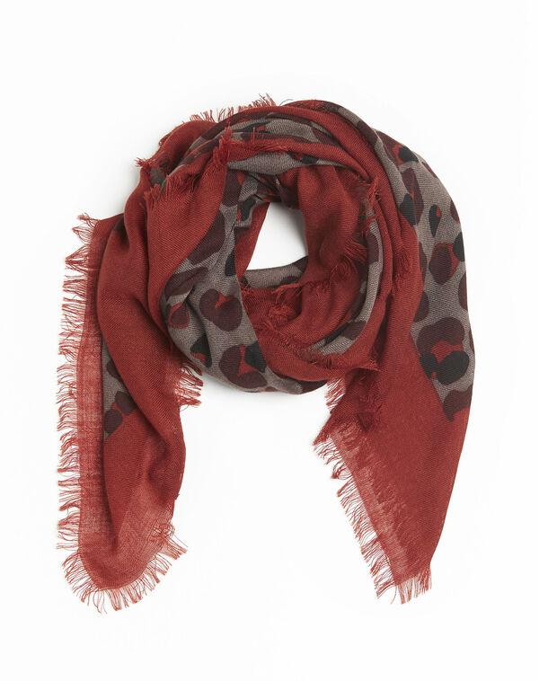 Kaki sjaal met huidprint van wol Fancy (2) - 37653