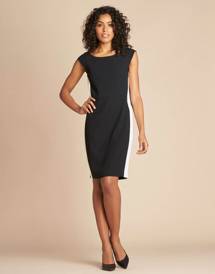 Abricot black straight-cut crepe dress (1) - 1-2-3