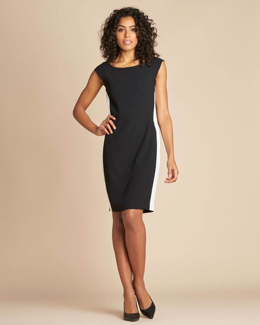 Abricot black straight-cut crepe dress (2) - 1-2-3
