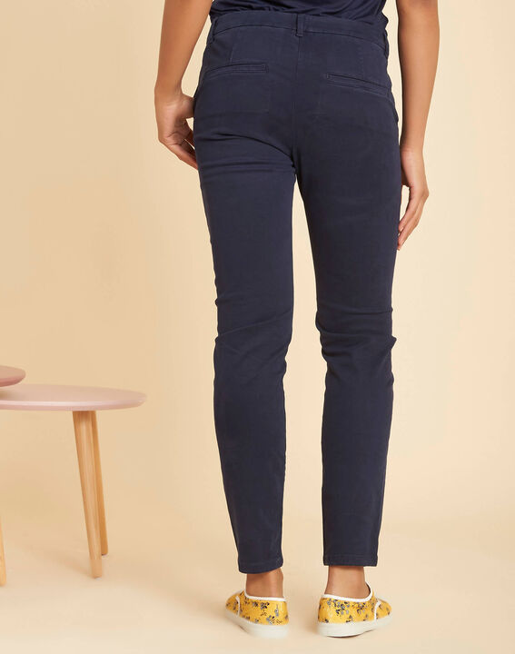 Valentin navy chino trousers in a satin cotton mix (4) - 1-2-3