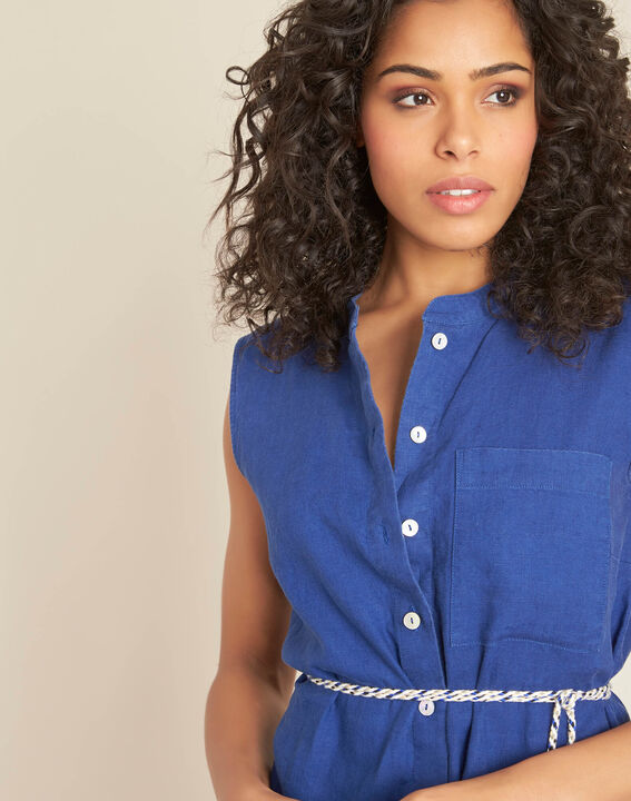 Papillon log blue linen shirt-dress PhotoZ | 1-2-3