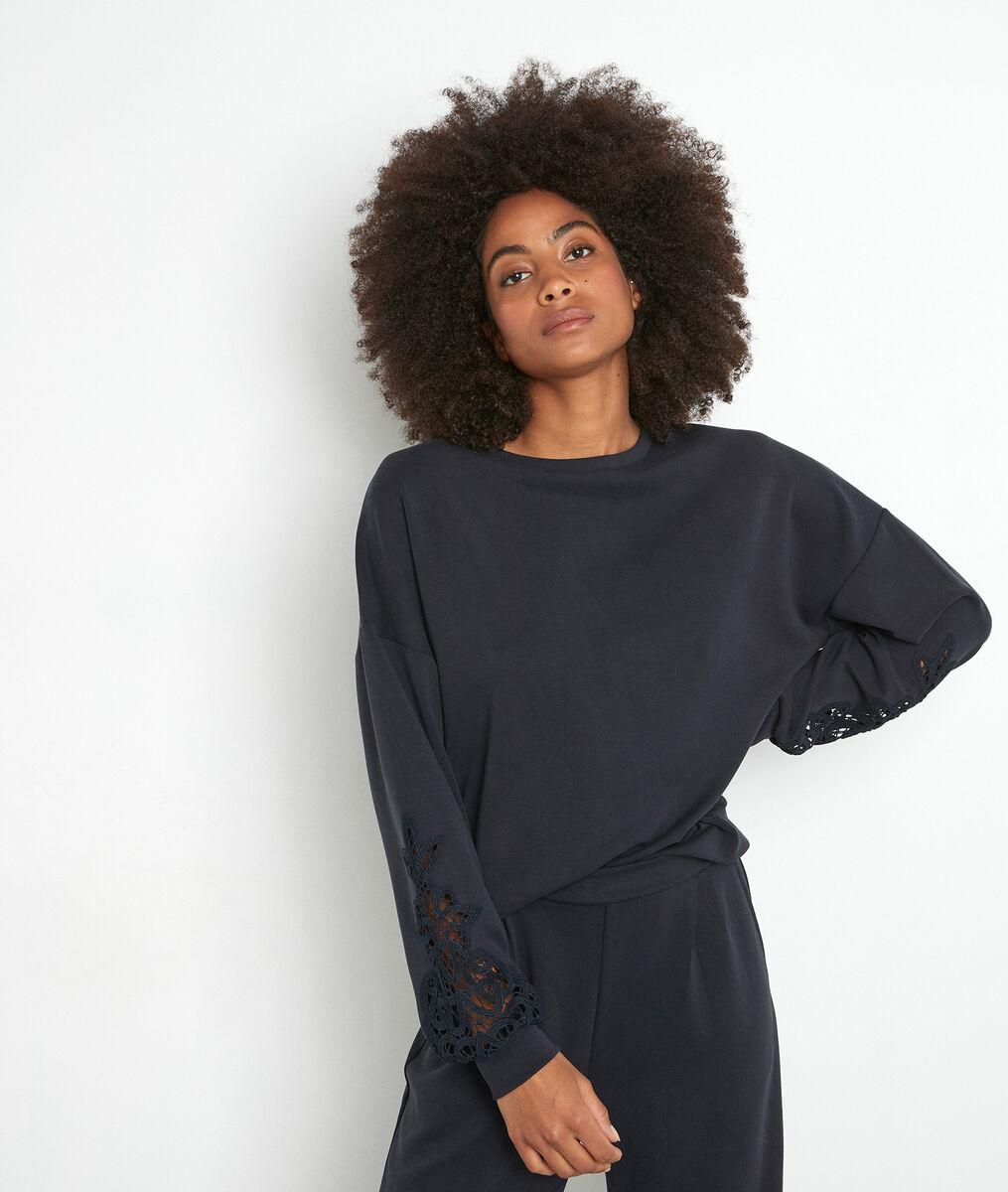 Marineblauwe sweater met kanten inzetstuk Erika PhotoZ | 1-2-3
