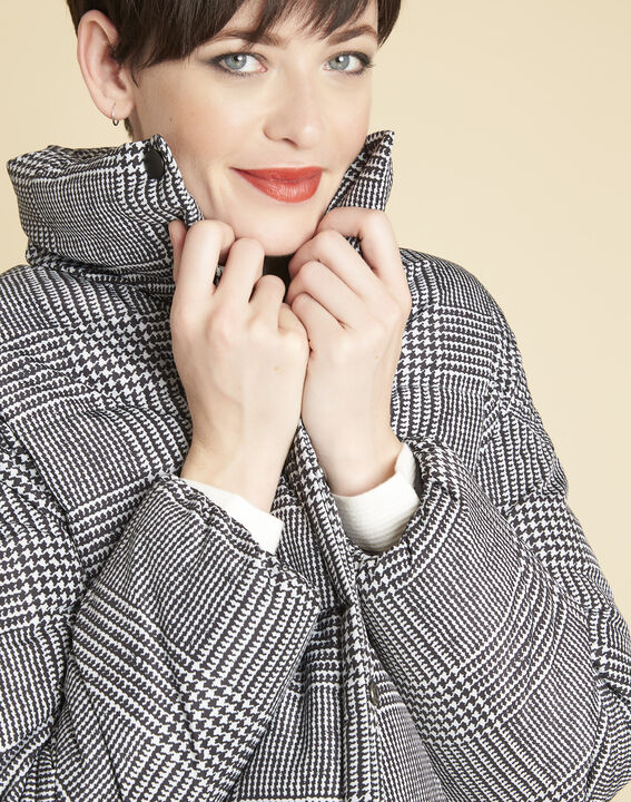 Grey down jacket printed with houndstooth check (3) - 1-2-3