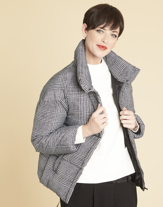 Grey down jacket printed with houndstooth check PhotoZ | 1-2-3