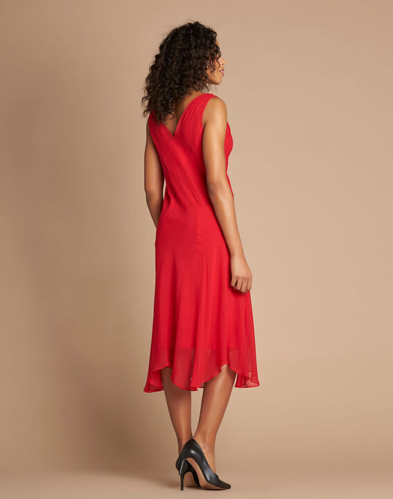 Robe rouge mi-longue dansante en soie Foret (4) - 37653