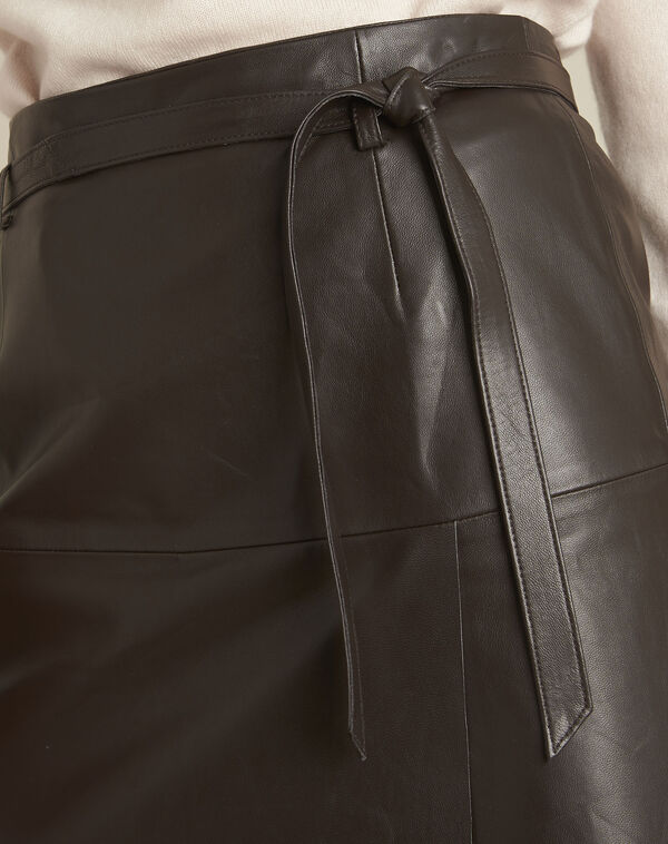 Long brown leather skirt (2) - 1-2-3