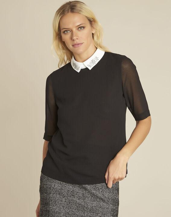 Schwarze Bluse mit Hemdkragen und Schmuck Claire (1) - 1-2-3